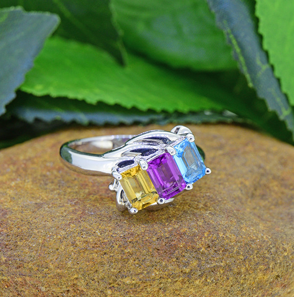Natural Amethyst,Topaz & Citrine 925 Sterling Silver Ring (SSR0477 )