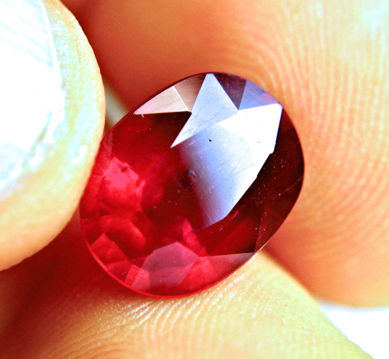 6.87 Carat Fiery Pigeon Blood Ruby - Superb