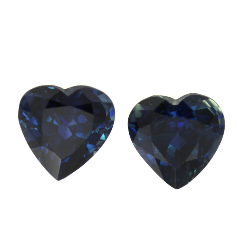 2.08cts Natural Australian Blue Sapphire Matching Heart Shapes
