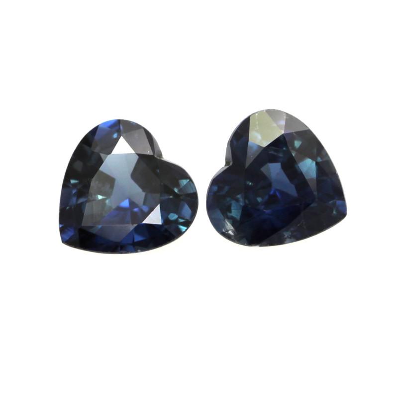 1.68cts Natural Australian Blue Sapphire Matching Heart Shapes