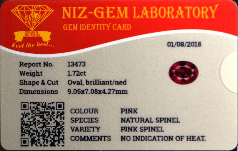 Pretty nicely cut natural spinel.   More purple violet to me.