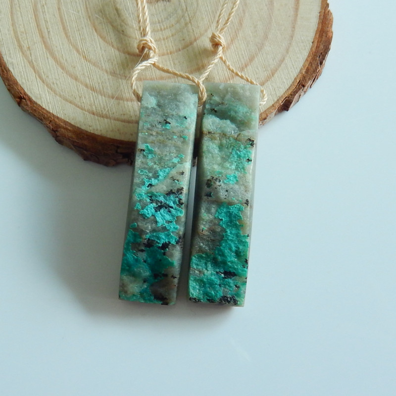 Raw Chrysocolla Earrings Natural Stone Earring,Rectangle  Earrings A992