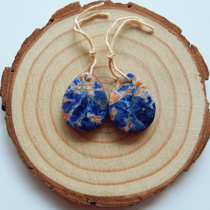 Natural Red Jasper, Sodalite Gemstone Intarsia Earring Beads(A993)