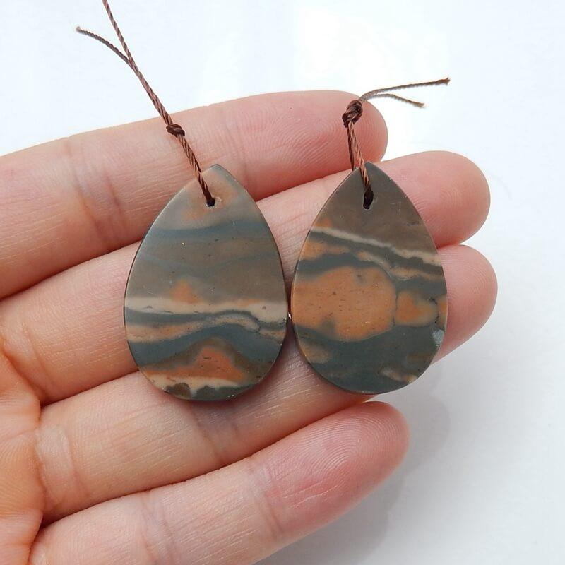 Natural Jasper Teardrop Earring Beads, stone for earrings making H3233