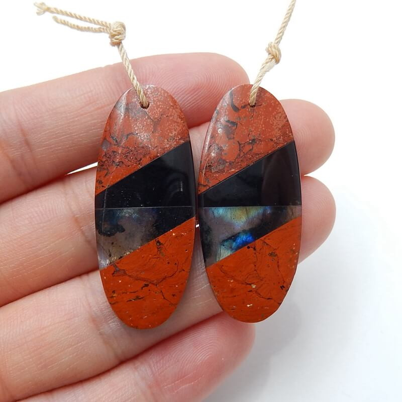 Red Jasper, Obsidian and Labradorite Intarsia Gemstone Earrings H3227