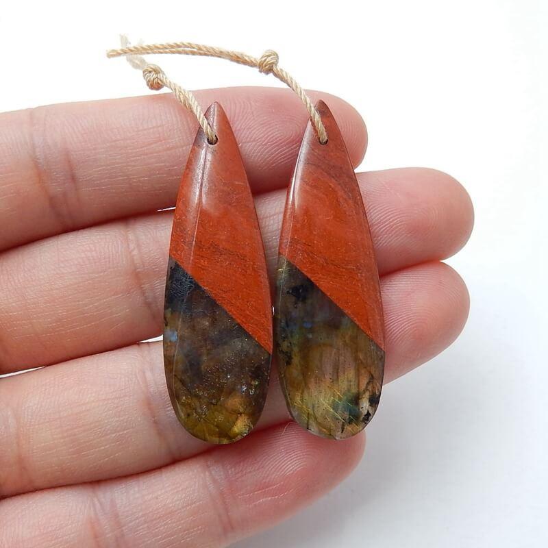 Red River Jasper and Labradorite Intarsia Gemstone Earrings H3225