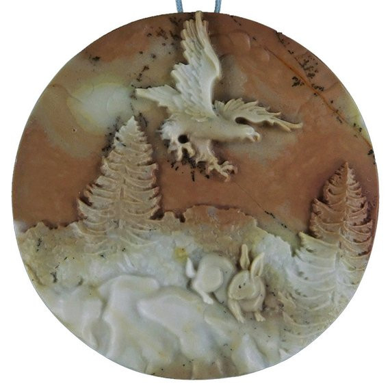 ⭐Eagle in flight ~ Carved Cameo Focal Pendant Stone in Ribbon Jasper 240cts