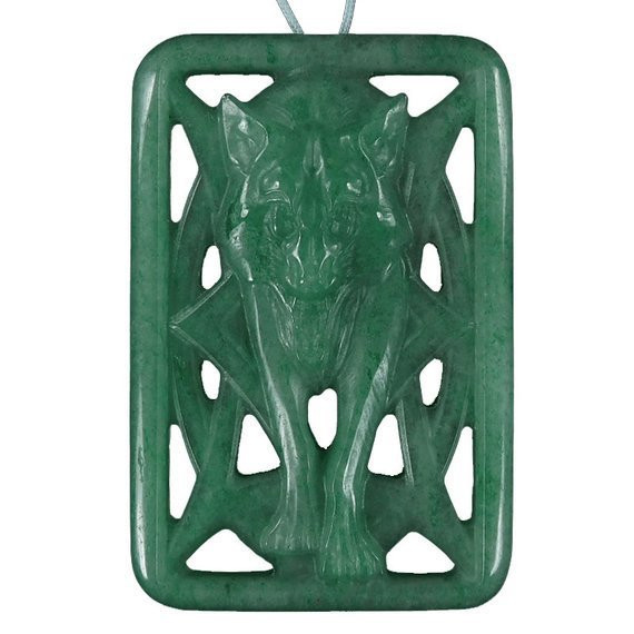 Wolf Large Carved Cameo Focal Pendant Stone in Aventurine 135.00cts