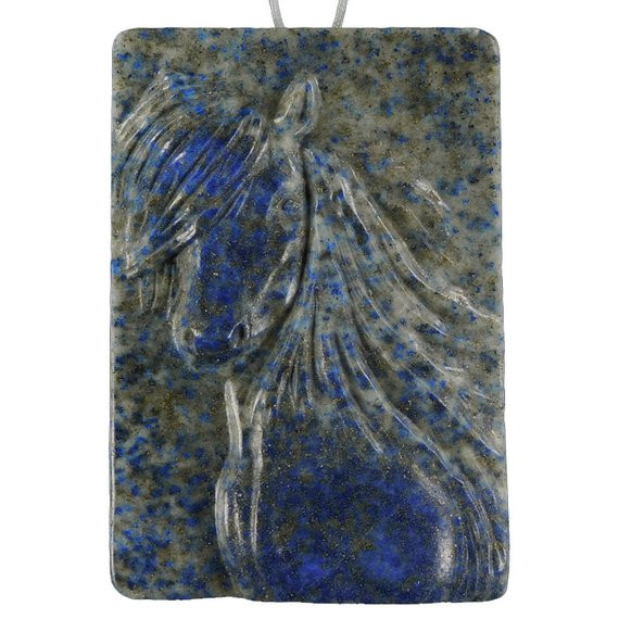 Flirty Horse Carved Cameo Focal Pendant Stone in Lapis Laz