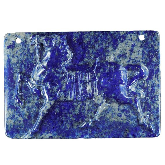 245.00CT Etruscan Horse Carving in Lapis Lazuli Cameo piece Bead