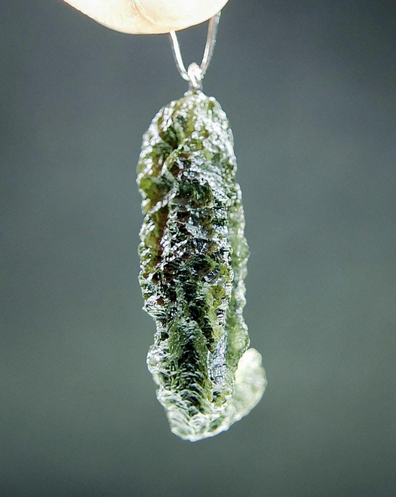 Certified Shiny Authentic Moldavite Pendant