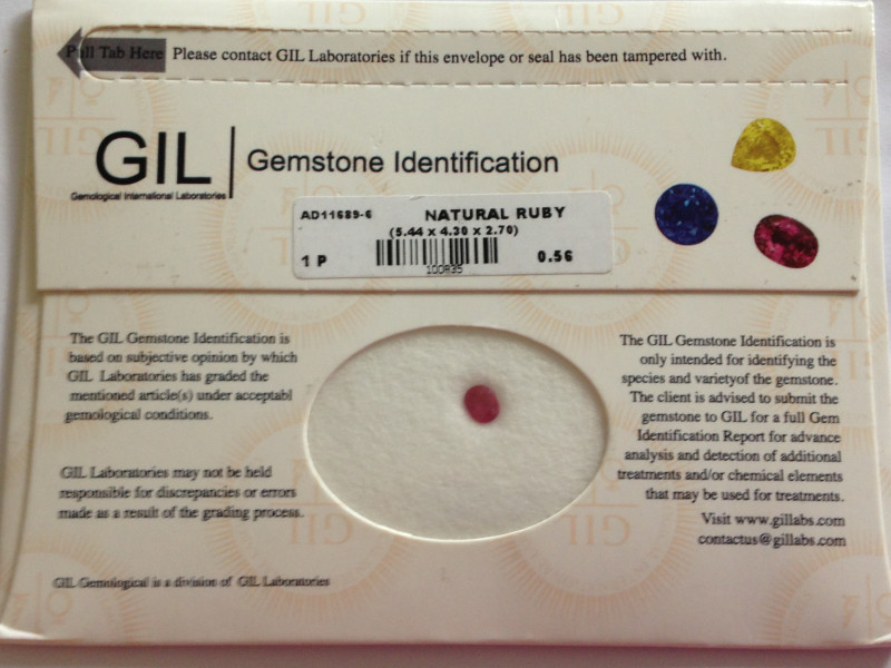 GIL Certified Ruby 0.56ct.