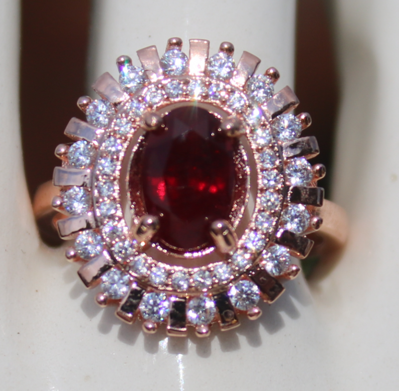 Winza Ruby 1.60ct,Rose Gold Plated,Solid Sterling Silver Ring