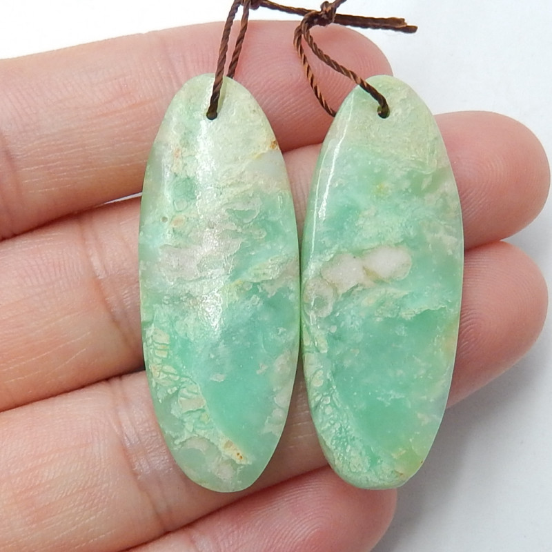 36cts Chrysoprase earrings ,oval earrings ,Designer Making B439