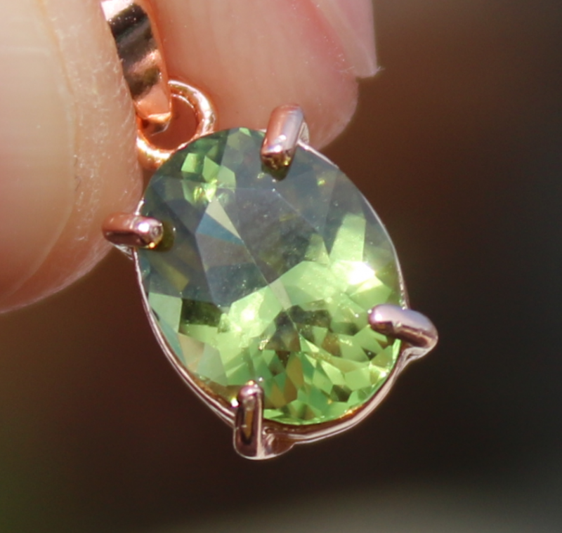 Green Tourmaline 1.30ct,Rose Gold Plated,Solid Sterling Silver Pendant