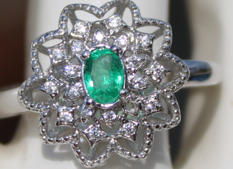Panjshir Emerald  40ct,White Gold Plated,Solid 925 Sterling Silver Ring