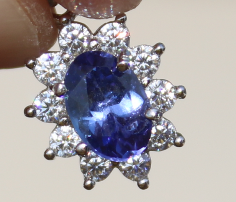 Tanzanite .60ct,White Gold Plated,Solid 925 Sterling Silver Pendant