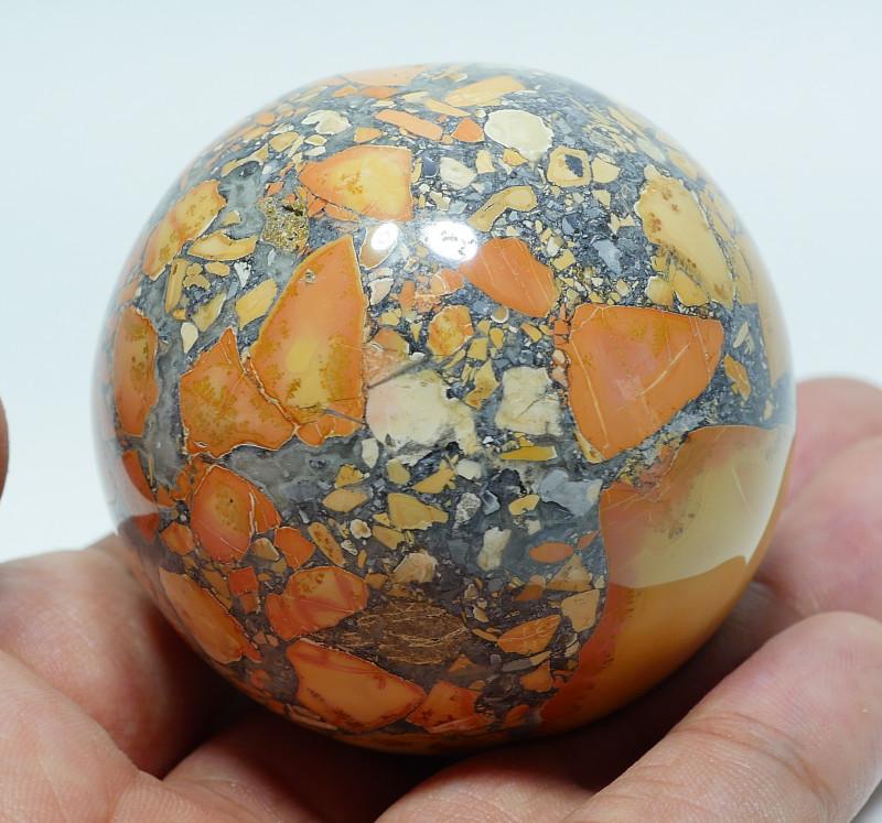 183 GRAM JASPER MALIGANO BALL NATURAL  AA GRADE GREAT PATTERN -G22-