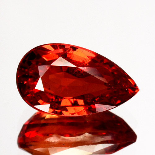 1.55 Cts Natural Orangesh Red Sapphire Songea Pear Cut Tanzania