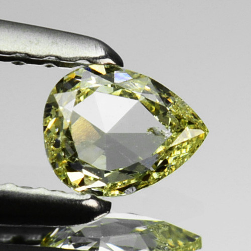 ~UNTREATED~ 0.19 Cts Natural Silver Yellow Diamond Pear Africa