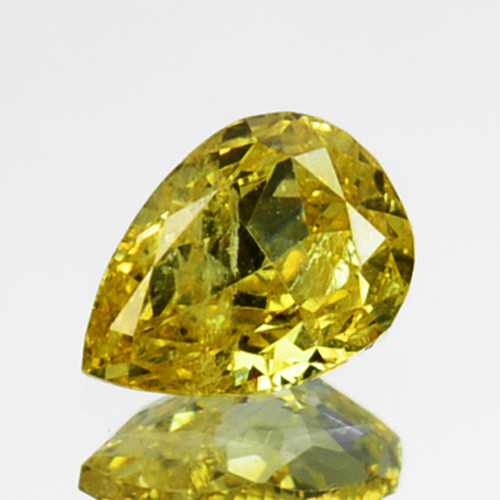 ~UNTREATED~ 0.14 Cts Natural Yellow Diamond Pear Africa