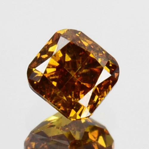 ~UNTREATED~ 0.18 Cts Natural Cognac Orange Diamond Cushion Africa