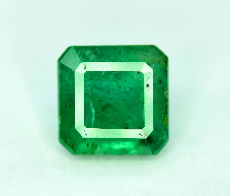 2.10 cts Emerald Cut Superb Top Quality Green Color Zambia Emerald Gemstone