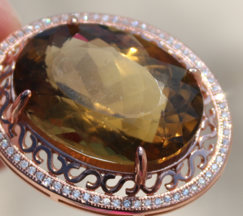 Congo Citrine 28.20ct,Rose Gold Plated,Solid Sterling Silver Pendant