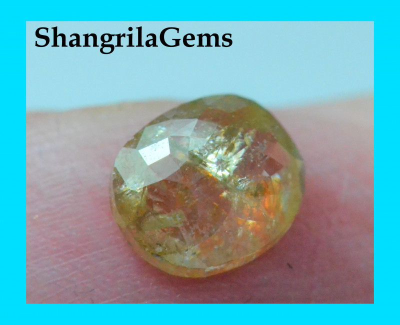 0.75ct 6.15mm Orange yellow cushion rose cut diamond natural and untreated