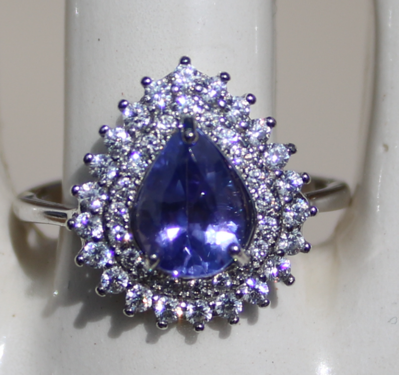 Tanzanite 1.45ct,White Gold Plated,Solid Sterling Silver,Natural,Resizable,