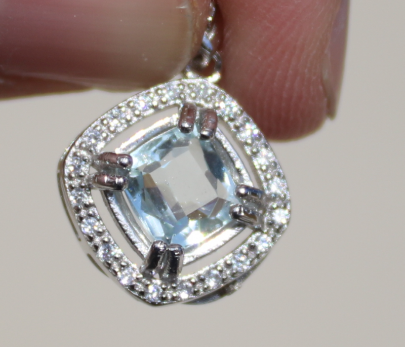 Aquamarine 1.39ct,White Gold Plated,Solid Sterling Silver Pendant