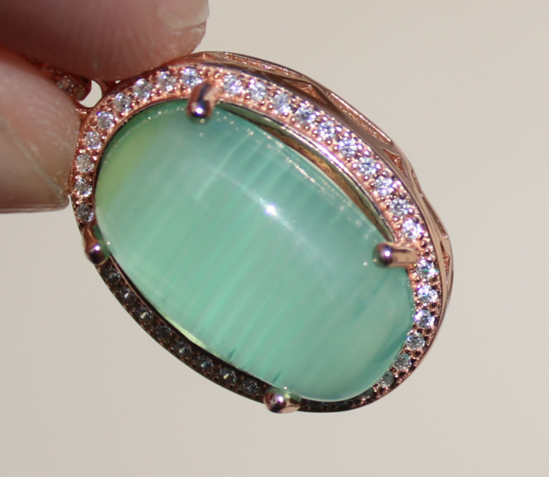 Cats Eye Green Calcite 8.90ct,Rose Gold Plated, 925 Solid Sterling Silver P