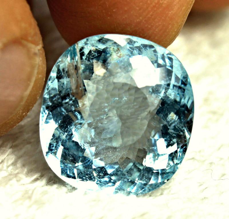 CERTIFIED - 16.27 Carat Blue Brazil SI Aquamarine - Gorgeous