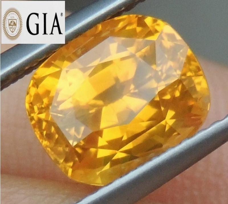 4.07cts GIA Sapphire,  Vivid Lolipop Yellow Sapphire