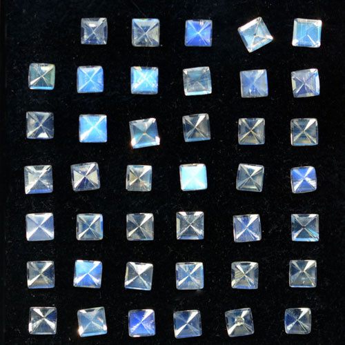 5.15Ct Unseen Natural Royal Blue Moonstone Square Faceted 3mm Parcel
