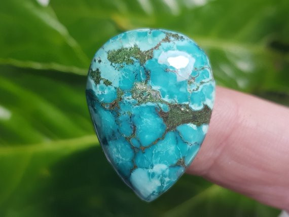 28mm Tibetan turquoise cabochon drop shape 28 by 21 by 7mm 33ct