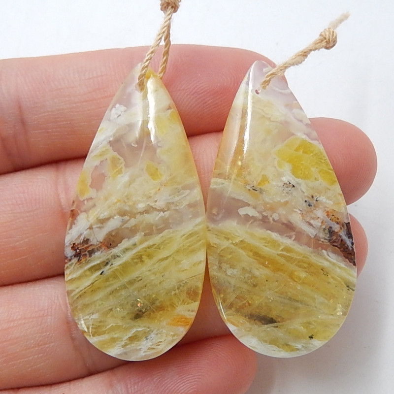 Yellow opal Earrings Gemstone beads, stone for earrings making B513