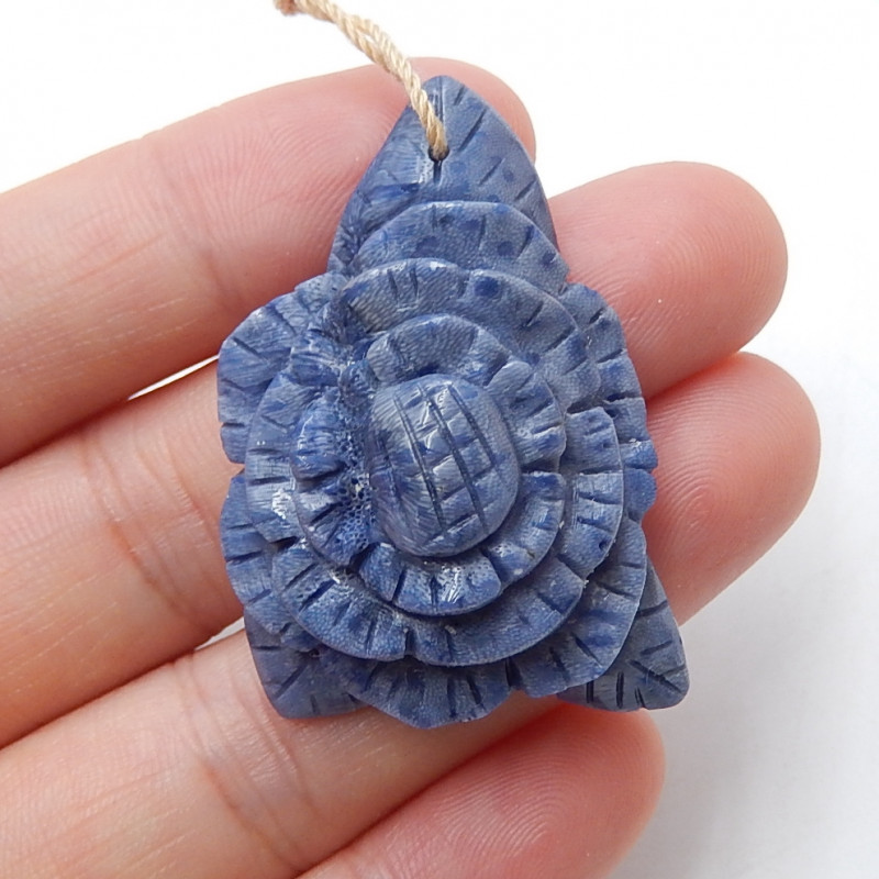 Hand carved blue coral pendant , flower pendant beads ,great craft B514