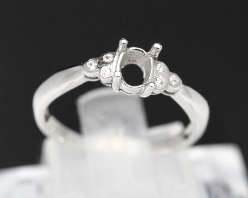 Semi Mount 4x3mm 18K Fine Jewelry White Gold G/VS  Diamond Ring V09