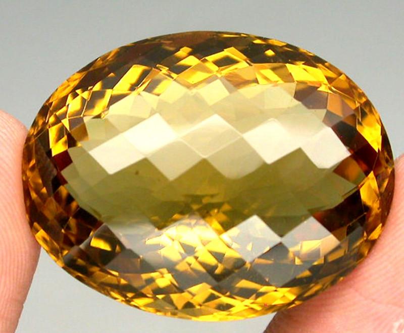 53.54ct Checker Board 100% Natural Top Yellow Golden Citrine Brazil