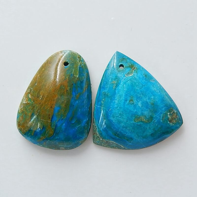 2 Pcs Blue OPal Drilled Gemstone Pendant Bead, Gemstone Making H3677