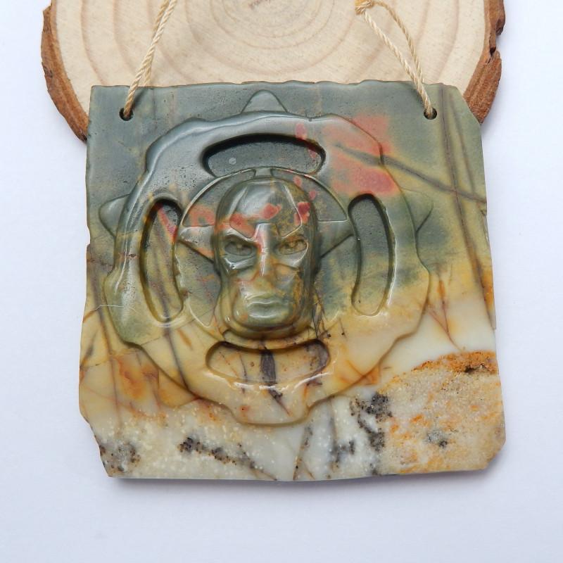 Hand Carved Pendant ,Multi Color Jasper Necklace ,Skull Pendant B524