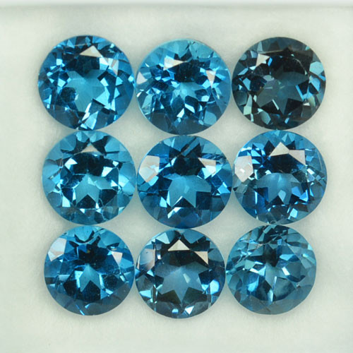 21.90Ct Inspiring Natural London Blue Topaz Round 8mm Parcel