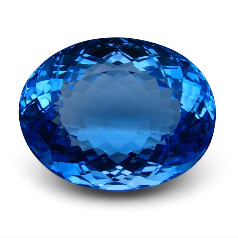98.47 ct Oval Swiss Blue Topaz