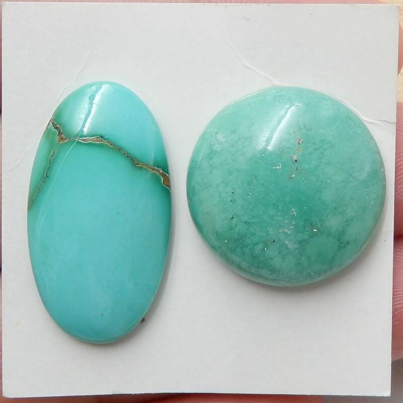 2 Pcs Natural Turquoise Gemstone Cabochon  Lucky Gemstone H3835