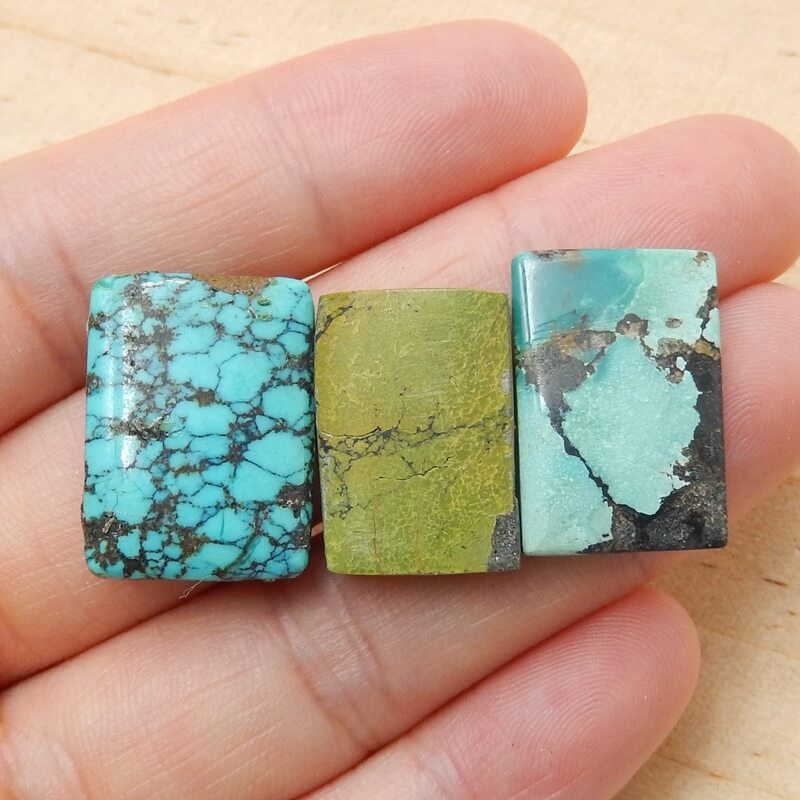 3 Pcs Natural Turquoise Rectangle Gemstone Cabochon ,Lucky Gemstone H3836