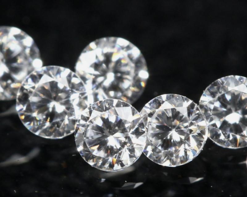 1.20mm D/F/VS 6Pcs Natural Round Brilliant Cut White Diamond