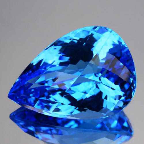 21.24 Cts Natural Swiss Blue Topaz Pear Checkerboard Cut Brazil