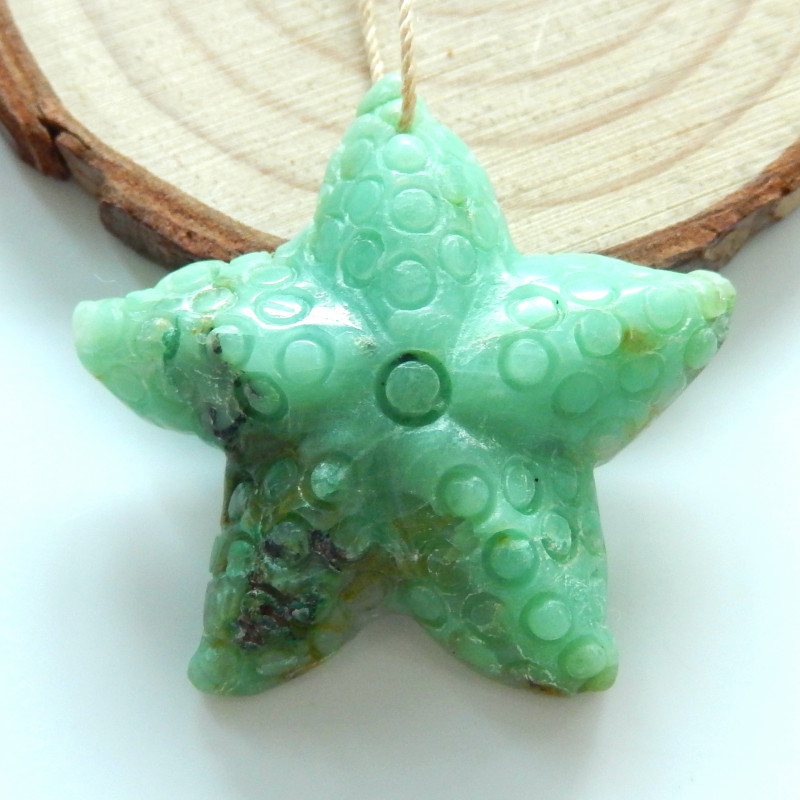 Carved Chrysocolla Starfish,  Chrysocolla bead, Hand Carved Pendant B561