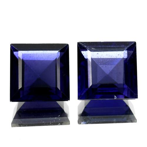 ~PAIR~ 4.75 Cts Natural Iolite Deep Blue 7.0 mm Square Cut Tanzania